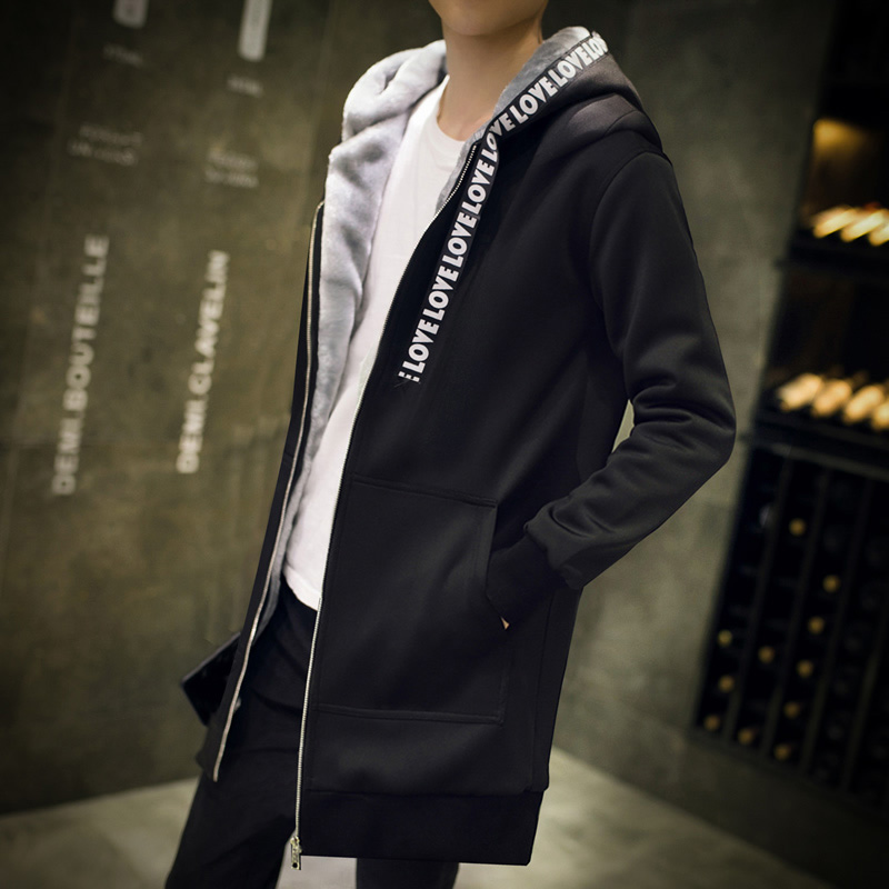 Men's Hooded Casual Shirt New Streetwear Hip Hop Men's Zipper Fleece Sweatshirt Brand Hoodie Fashion Long Hoodie Hip Hop Jacket