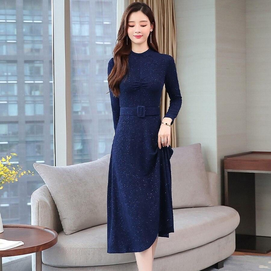 2019 Vintage Blue Long Sleeve Midi Dresses Autumn Winter 2XL Plus Size Solid Women Bodycon Dress Elegant Party Femal Vestidos 72