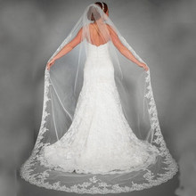 Véu de noiva longo com apliques, véu de casamento elegante, apliques de tule catedral, com borda de renda, 1t, véu de noiva, 3 metros longo longo