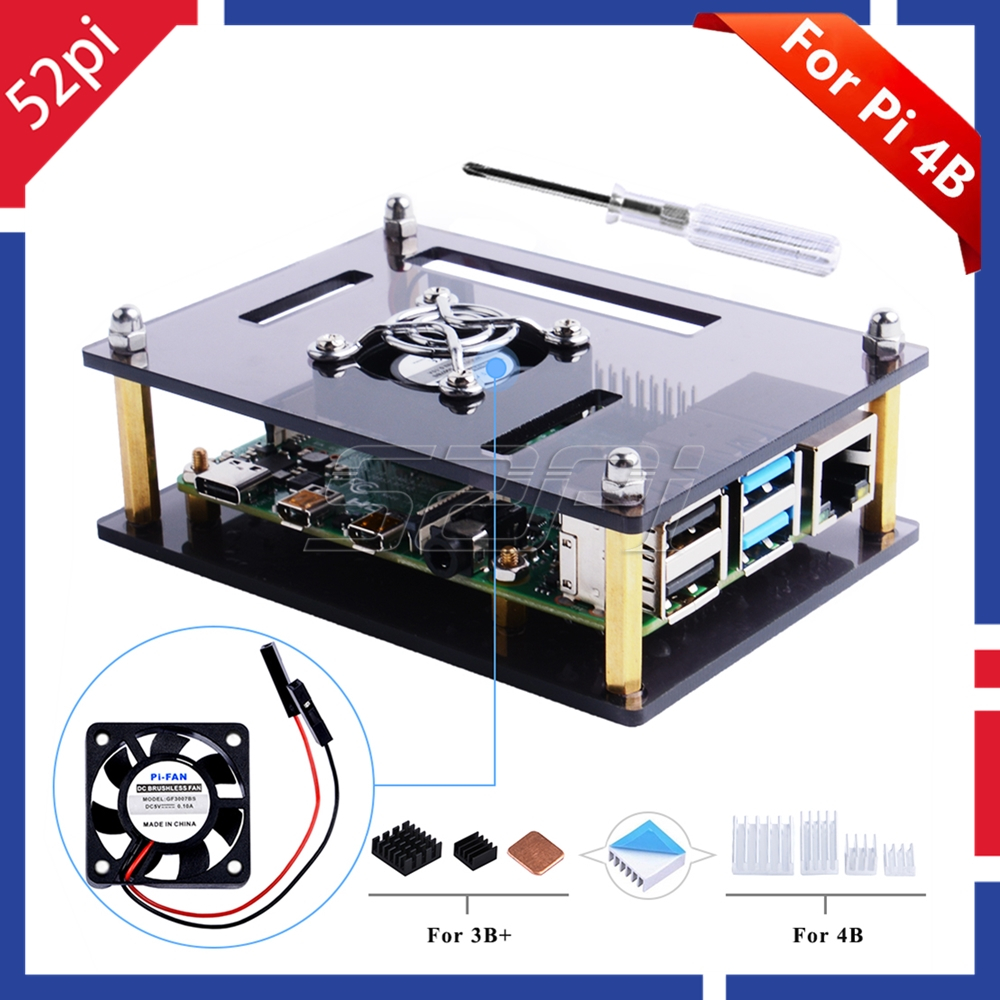 52Pi Dark Brown / Clear Acrylic Case For Raspberry Pi 4 Model B, Case With Cooling Fan For Raspberry Pi 4B / 3B+ / 3B /2B Board