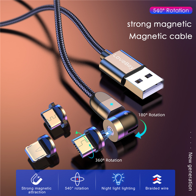 Lovebay 2M 360º+180º Rotate Magnetic USB Cable Micro usb Type C Charger Mobile Phone Cable Cord Fast Charging For iPhone 11 Uncategorized Adapters Chargers Chargers Consumer Electronics Electronics Mobile Phone Cables USB Gadgets