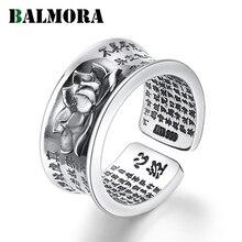 BALMORA ريال 999 الفضة والمجوهرات البوذية سوترا لوتس المفتوحة التراص خواتم للنساء الرجال هدية بيان خمر مجوهرات الأزياء