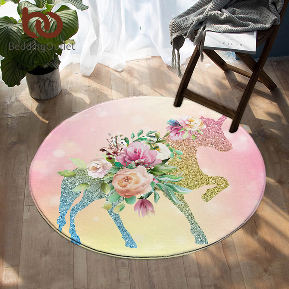 BeddingOutlet Lovely Unicorn Round Carpet Cartoon Kids Play Mat Area Rugs Floral Star Floor Mat For Girls Bedroom Alfombra