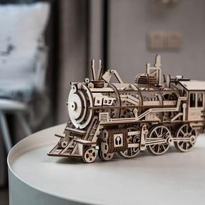 Image 3 - Robotime DIY saat dişli sürücü lokomotif 3D AHŞAP Model yapı kitleri oyuncaklar hobiler hediye çocuk yetişkin için LK701