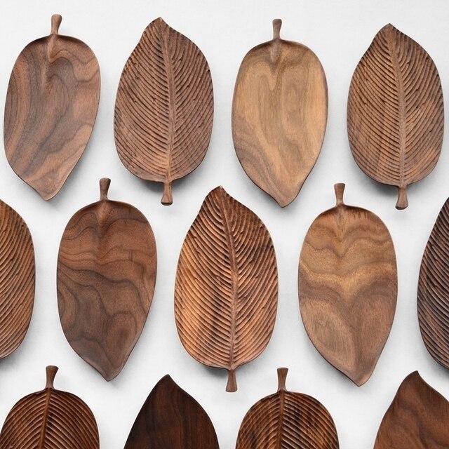 Musowood Wooden Leaf Tray For Tea Set Cup Fruit Snake Dessert Home Decoration For Hotel Office Black Walnut Leaves Plate Sample