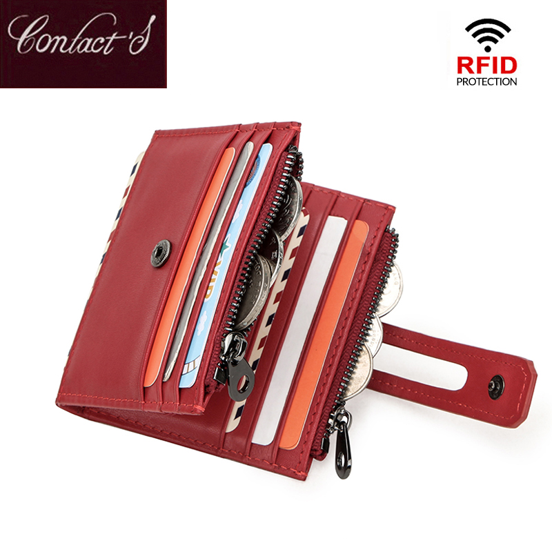 Contact's Small Genuine Leather Card Holder Women Card Blocking RFID Wallet Protection ID Credit Card Wallet Tarjeter Coin Purse