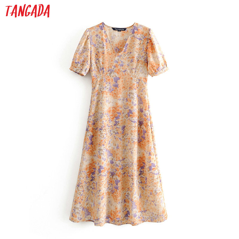 Tangada Women Flowers Print Elegant Dress 2020 Fashion V Neck Short Sleeve Ladies Tunic Midi Dress Vestidos 3D16