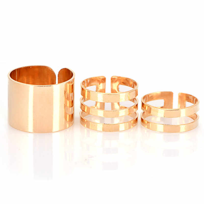 Trend All-match Fashion Jewelry Silver Gold Color Ring Set 3Pcs/lot Three-piece Hollow Geometric Ring