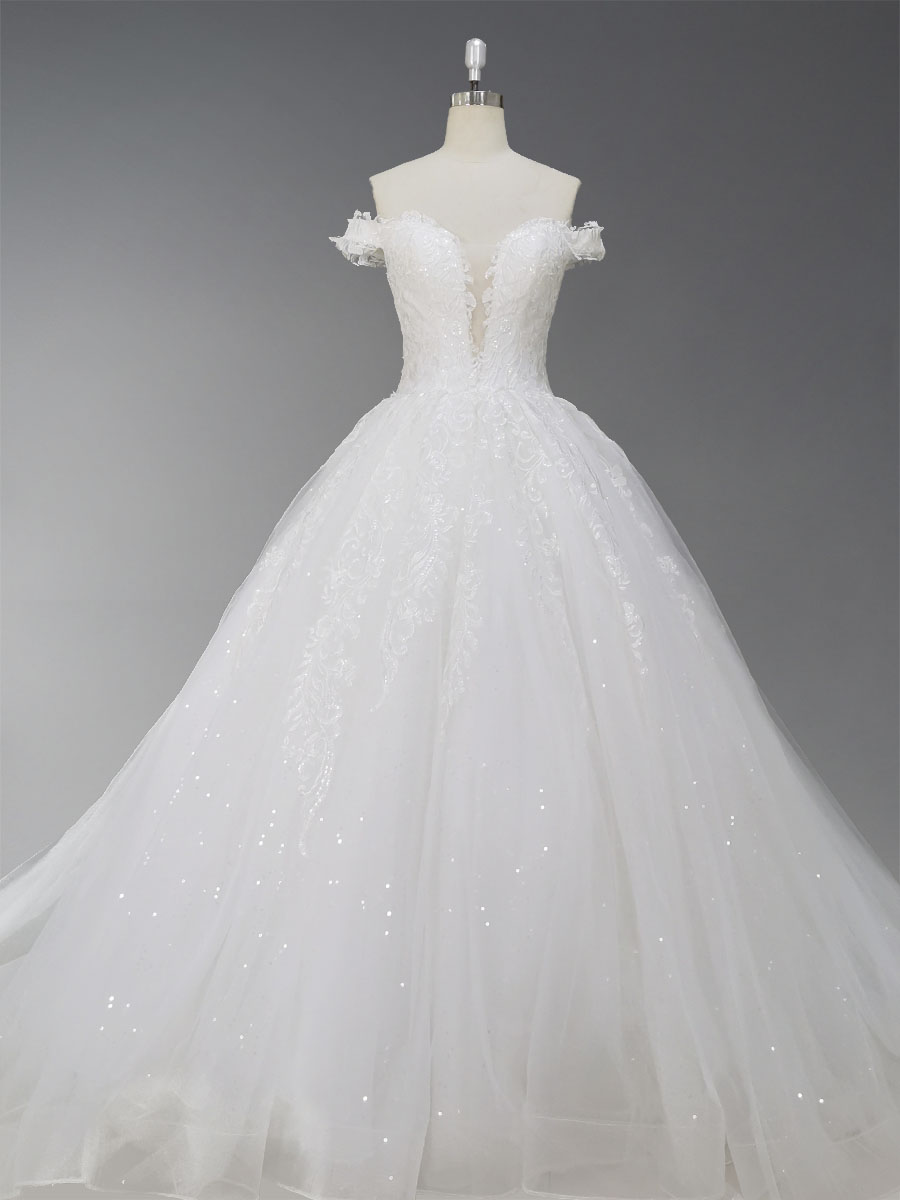Ball Gown Off-The-Shoulder Court Train Chiffon Wedding Dress With Appliques