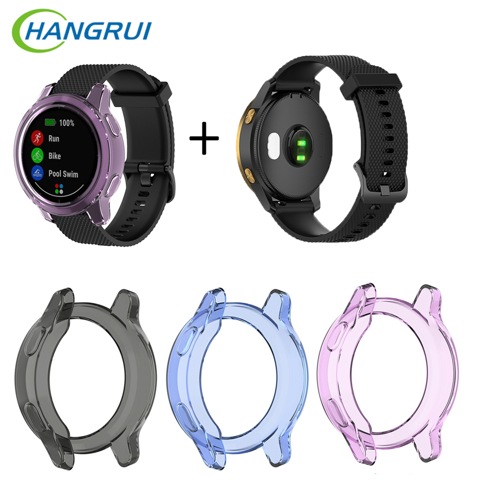 Fashion Ultra-Slim Silicone Clear TPU Protective Cover + Dustproof Plug For Garmin Vivoactive 4 /4S /Active/ActiveS Smart Watch