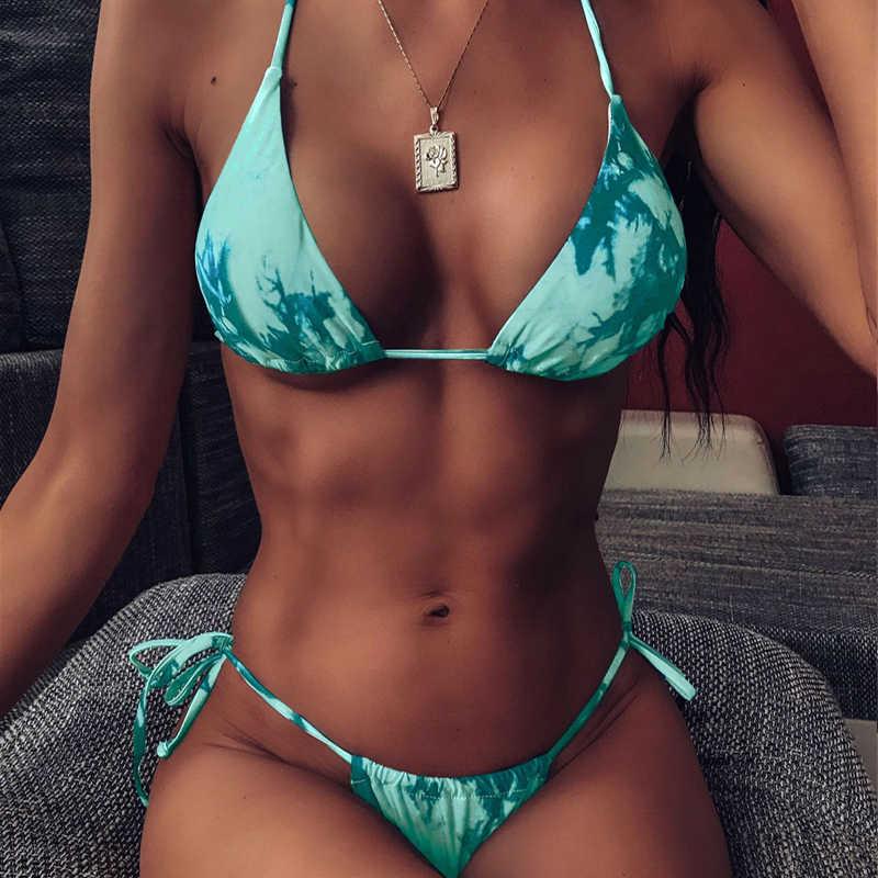 2020 nova sexy coconut tree maiô feminino triângulo bralette maiô sem costas halter beachwear S-L menina tanga micro biquíni conjunto