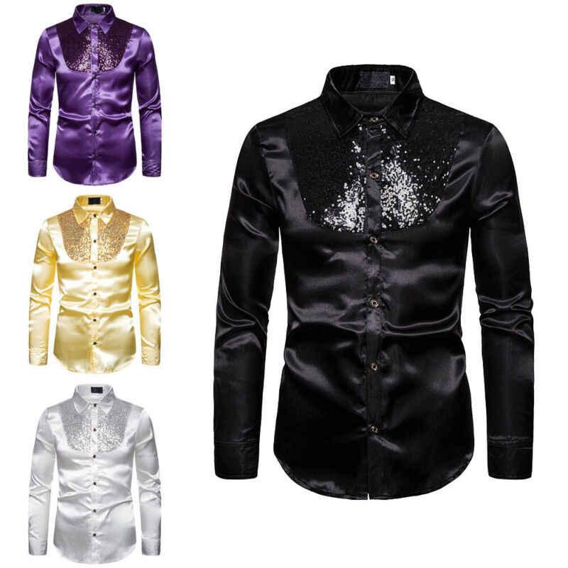 男性の高級スパンコールグリッターシャツ新長袖シルクサテン光沢のあるディスコパーティーシャツ男性トップステージダンスナイトクラブウエディング衣装