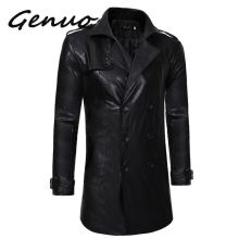 Genuo New Leather Jaket Men Fashion Popular Black Medium Length Spring Jackets Mens Casual Double-breasted Motorcycle Coat