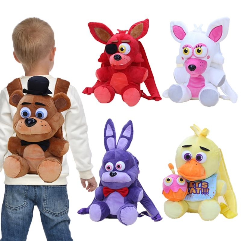 33cm Brown Bear Bag Freddy Plush Bag Freddy Fazbear Chica Bonnie Mangle Foxy BackPack Plush Stuffed Toys schoolbag for Kids Doll