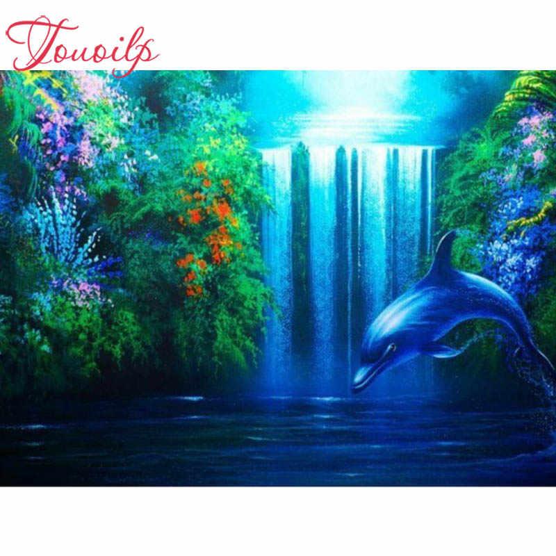 """TOUOILP 5d diament malarstwo """"Dolphin Falls"""" 3D diamentowa malowanie okrągłe/kwadratowe dżetów diamentowa malowanie hafty zwierząt"""