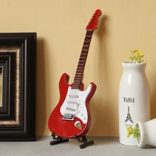 10cm Miniature Electric Guitar Replica with Box Stand Musical Instrument Model