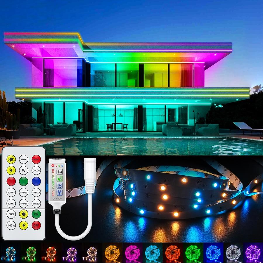 Rgbww rgb led luz de tira 5050 10m 5m bluetooth led luzes rgb leds fita do diodo flexível decoração quarto dc12v adaptador conjunto