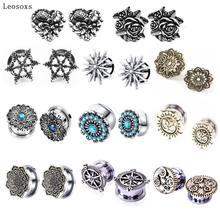 Leosoxs 1pc jóias 5-20mm venda quente novo retro auricle polia de aço inoxidável orelha expansão tampões corpo piercing jóias