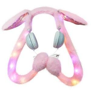 Image 3 - Fones de ouvido femininos com fio, fofos, com luz de led, desenhos animados, anime, headset para computador, celular mp3, presentes para crianças
