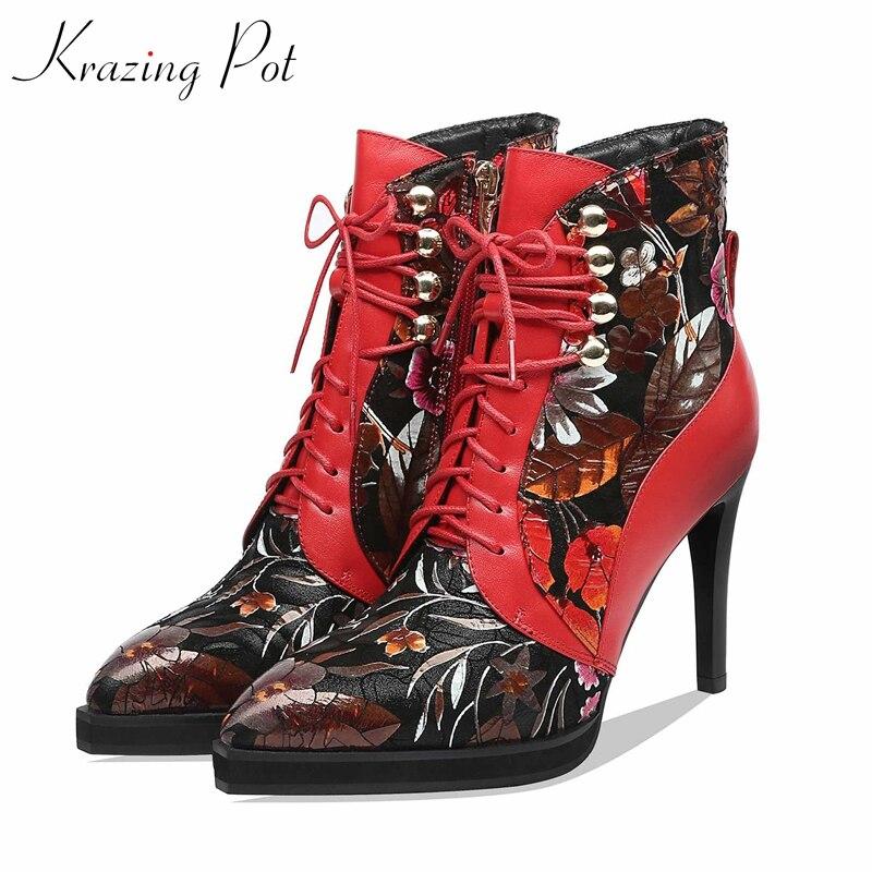 Krazing pot design en cuir véritable mode mixte couleurs imprimé bout pointu super hauts talons aiguille Zip à lacets bottines L87