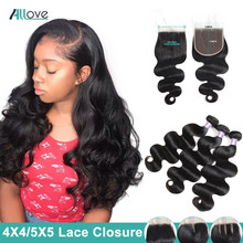 Allove Brazilian Body Wave Bundles With Closure Free Part 5X5 Lace Closure With Bundles Non-Remy Human Hair Bundles With Closure(China)