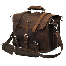 Vintage Crazy horse Genuine Leather Men Travel Bags Luggage