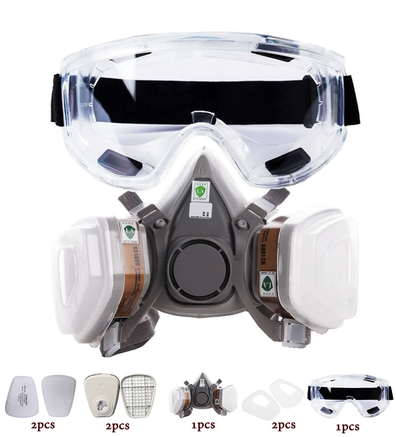 New 8-In-1 6200 Dust Gas Mask With Safety Goggles Half Face Gas Respirator For Painting Spraying Polishing Work Safety