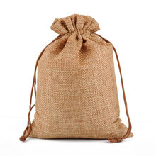 Mini Bag Natural Linen Pouch Drawstring Burlap Jute Sack Jewelry Gift Pocket New(China)