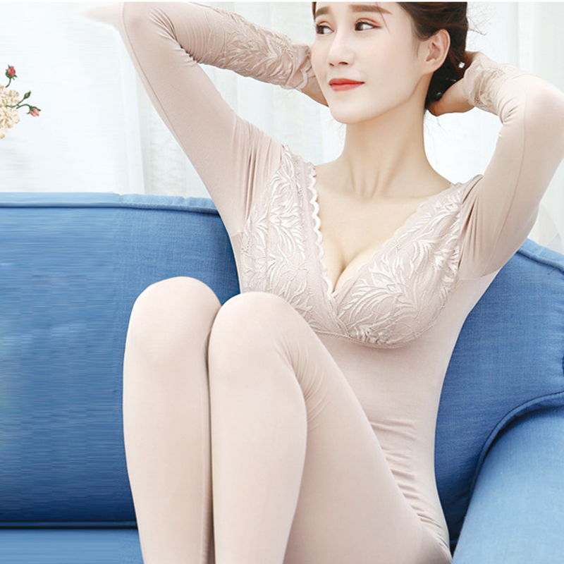 Modal Seamless Lace Second Female Thermal Skin Sexy Deep V-Neck Long Johns Women Slim Body Winter Women's Thermal Underwear Set