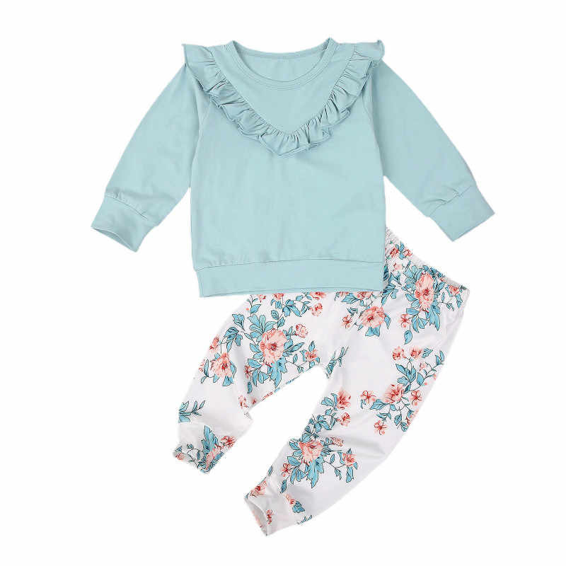 2 Pcs Infant Casual Outfits, Toddler Long Sleeve Round Neck Ruffle Pullover + Floral Trousers Spring Autumn Clothing