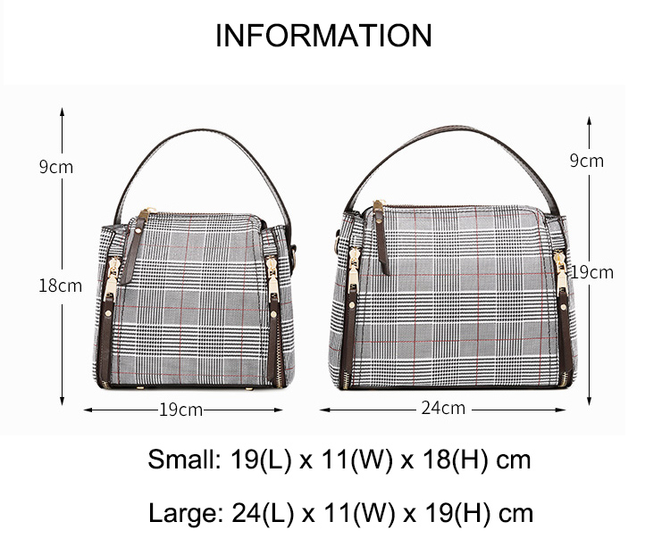 NEW LUXURY WOMENS CLASSICAL BLACK PLAID TOTE BAG LADIES SHOPPER SHOULDER HANDBAG