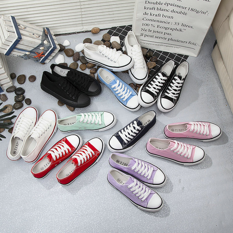 Tleni 2018 new Women Canvas Shoes Solid Color Women sports Shoes Lace up White Couple Shoes Woman Sneakers ZK 88|Running Shoes| |  - title=