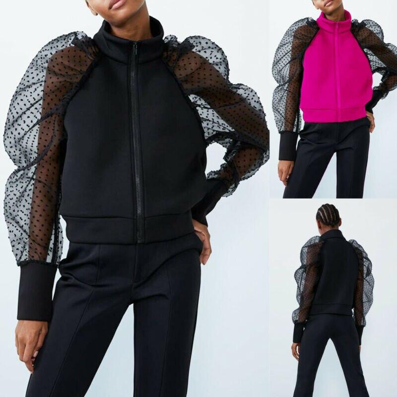 Brand Fashion See-through Women Mesh Sheer Sweatshirt Top O-neck Lace Puff Sleeve Tops Woman Summer Casual Zipper Tops Female