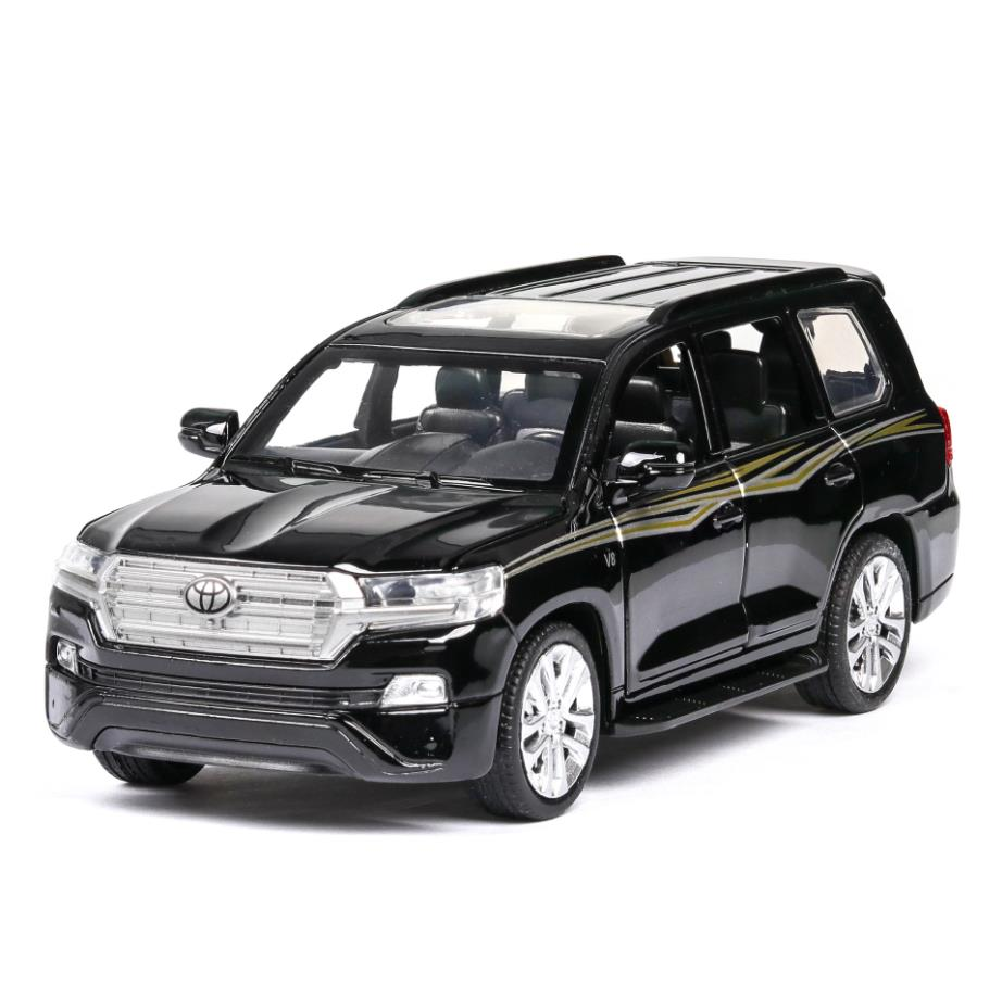 Hot Scale 1:32 Wheels Diecast Car Toyotas Orv LAND CRUISER 200 Metal Model With Light And Sound Pull Back Vehicle Toy Collection