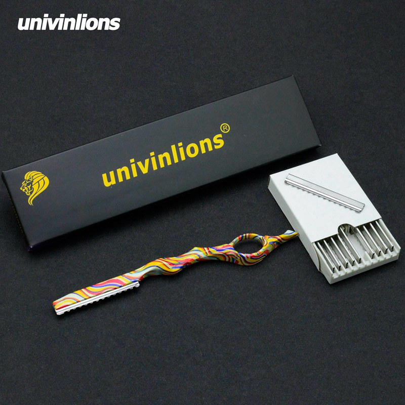 Univinlions Professional Barber Thinning Razor Straight Hairdressing Razor Stick Salon Hair Cutting Knife Hairstylist Scisor