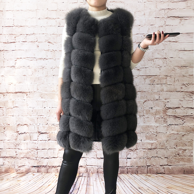 Natural Real Fox Fur Vest Natural Fur Coat For Jacket female coats Vest Waistcoat  long Fur Coats Real Fur Coat Fox Vest Jacket 4