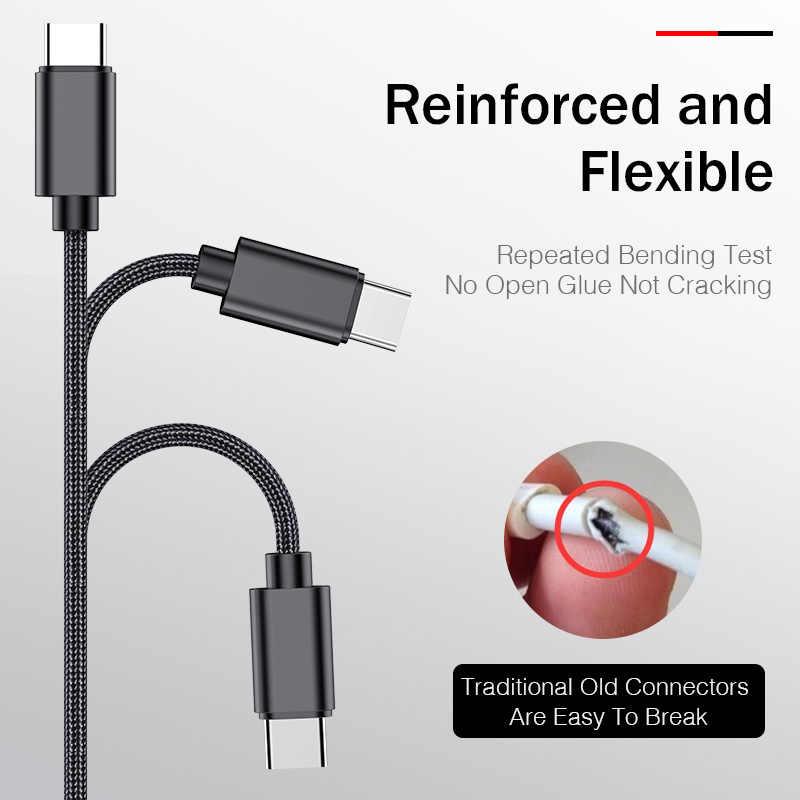 روك USB نوع C كابل لسامسونج هواوي Oneplus تهمة سريع 3A نوع-C الهاتف المحمول شحن سلك تاريخ USB C كابل ل شاومي