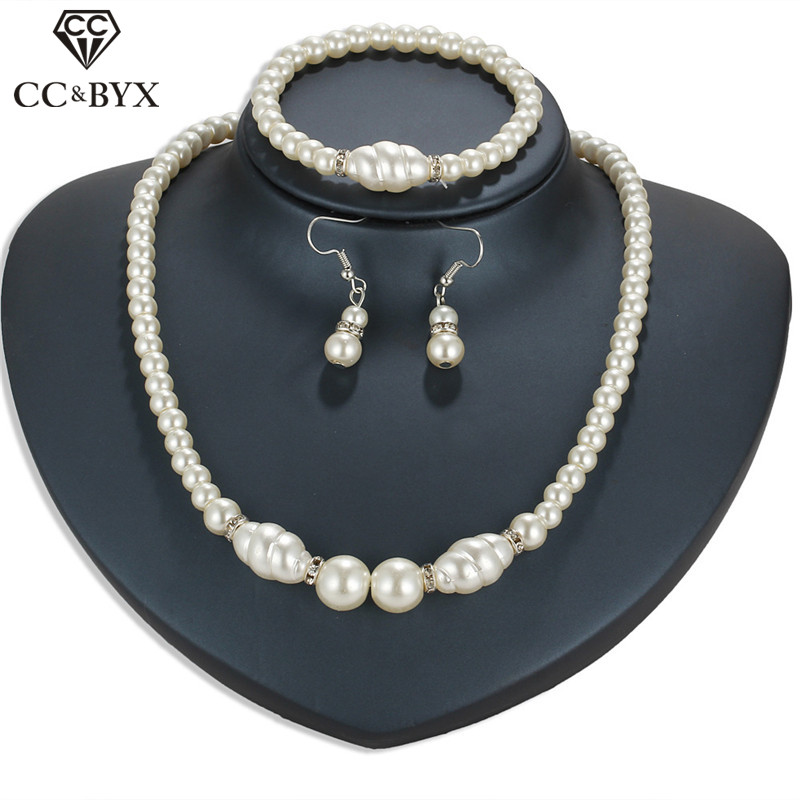 CC Jewelry Set Pearl Necklace Bracelet Drop Earring For Women Wedding Accessories Bridal Party Fine Gift Crystal 3pcs Set YH49