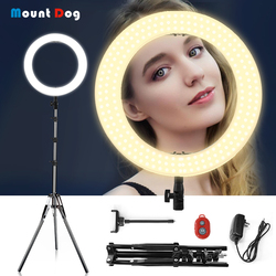 MountDog 14 LED Ring Light Ring Lamps Makeup Light with Stand Tripod Bi-color 3200K-5500K Annular Lamp for Video YouTube Photo