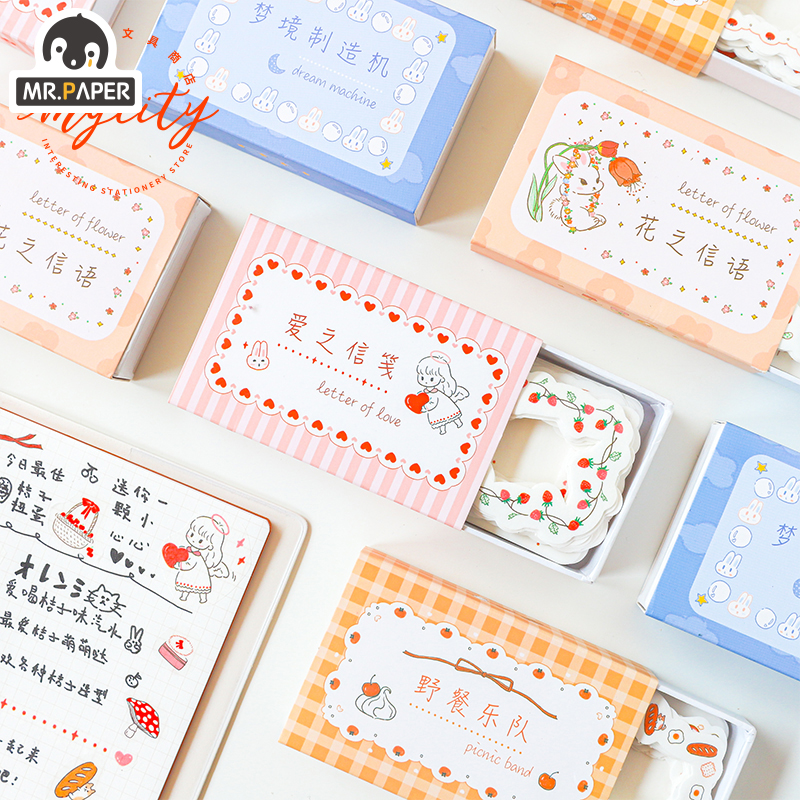 Mr.Paper 60pcs 4 Designs Food Fruit Love Cloud Letter Memo Pads Sticky Note Take-away With Washi Paper Self-Stick Note Memo Pads