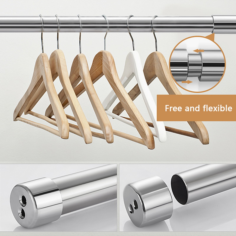 1pc Stainless Steel Shower Curtain Ploes Retractable Fixed Hanging Rod Adjustable Spring Tension Rod Rail For Clothes Towels