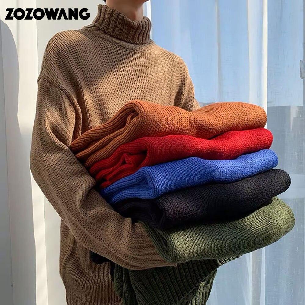 Свитер ZOZOWANG с высоким воротником, мужской осенний плотный теплый облегающий Однотонный пуловер, свитер для мужчин красного, синего цветов, 2020|Bодолазки|   | АлиЭкспресс