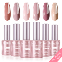 MIZHSE 18ML Gel Nail Polish Kit Nail Art UV LED Gel Set Glitter Sequins Soak Off UV Gel Varnish Pure Color 6PCS With Gift Box