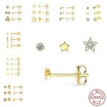 GS 3 Pçs/set Cristais brincos Geometria Do Parafuso Prisioneiro para As Mulheres Pequena Estrela Rodada Oorbellen Piercings Brinco 925 Jóias de Prata Esterlina