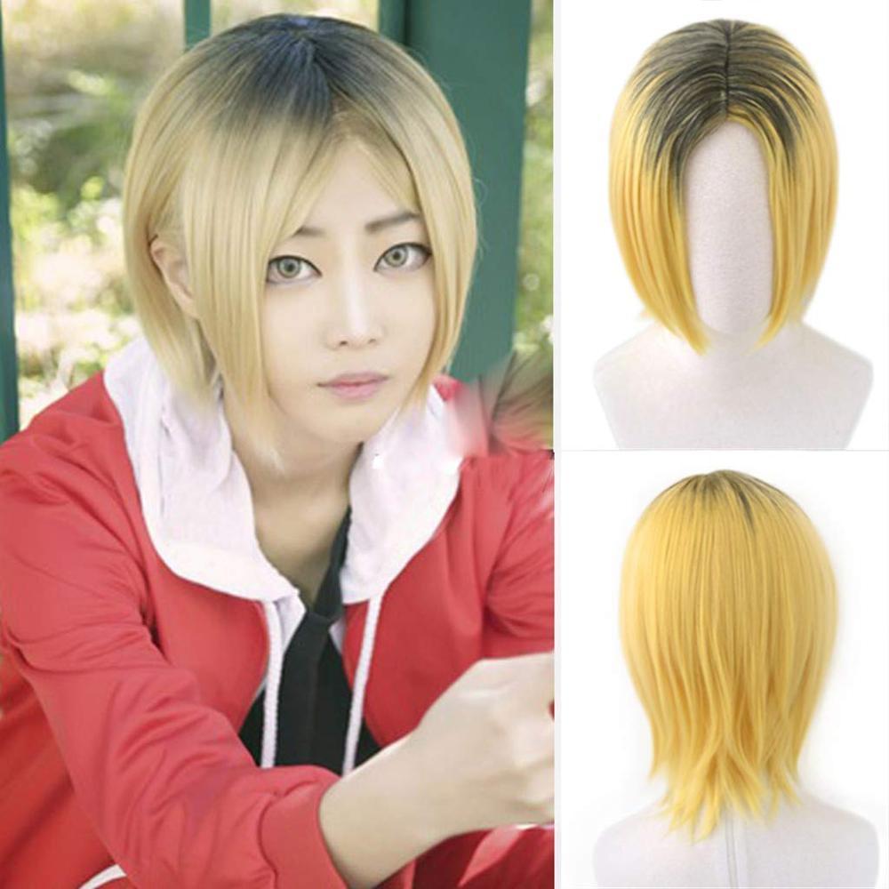 Аниме Haikyuu! Парик для косплея Kenma Kozume, короткий желтый костюм, игровые парики, костюмы на Хэллоуин, парик + шапочка для парика| |   | АлиЭкспресс