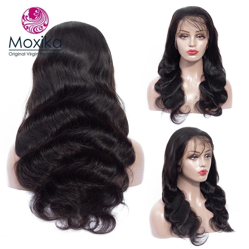 Moxika laço frontal perucas de cabelo humano com o cabelo do bebê não remy brasileiro onda do corpo do laço frontal perucas pré arrancadas para preto