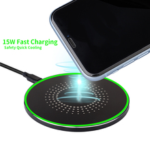 15W Fast Wireless Charger USB-C Cooling Charging Pad Station For IPhone X Xiaomi Huawei Samsung 40 ports usb charger 300w 5v 60a smart charging station built in cooling fan fast charging for tablets laptop phone pad camera