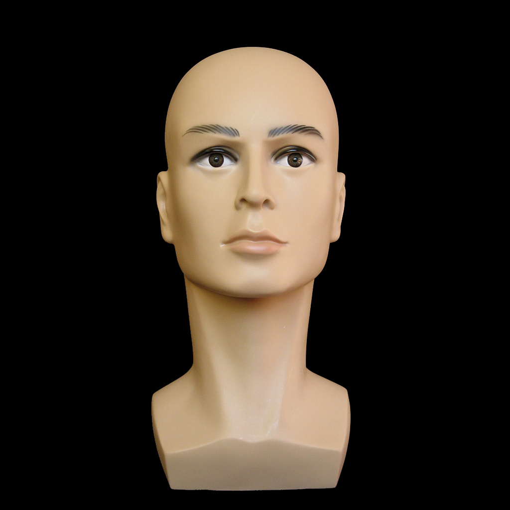 1 Piece Male Mannequin Manikin Head Model for Glasses Caps Wigs Jewelry Display Stand Holder Rack, Light Weight with Makeup