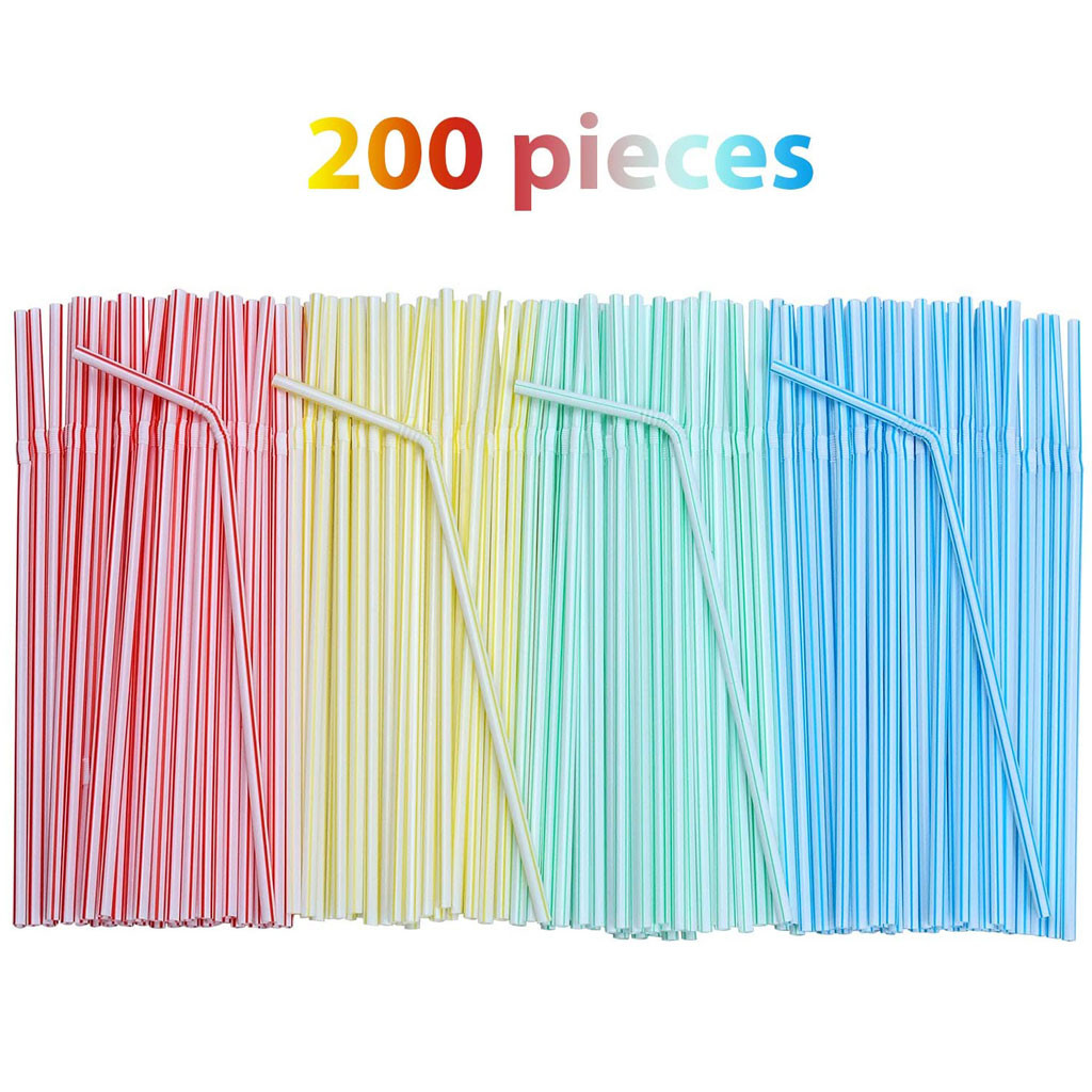 200pcs Plastic Drinking Straws 8 Inches Long Multi-colored Bendable Disposable Straws Party Multi Colored Rainbow Straw