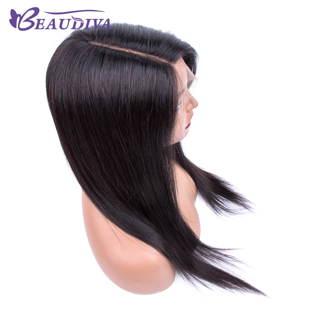 Brazilian Side Part Lace Wig Straight Human Hair Wigs For Black Women Remy Beaudiva 150% Density Lace Wig With Baby Hair 18inch
